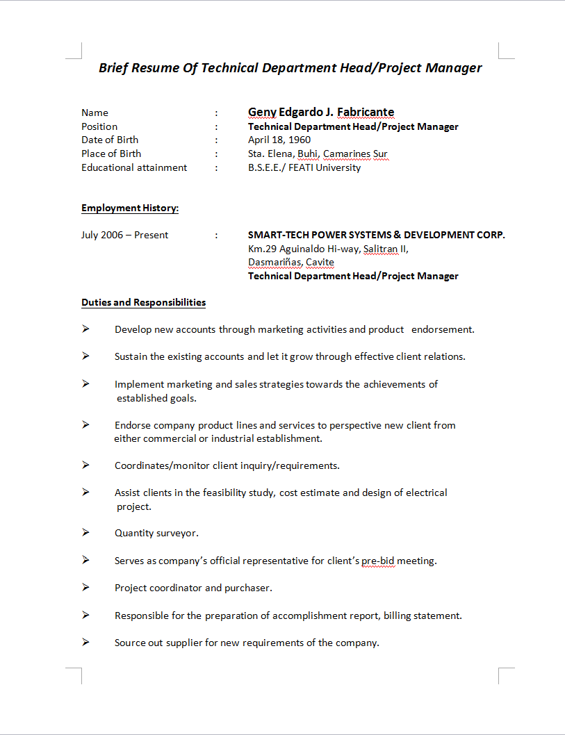Resume Building Electrical Engineering Projects