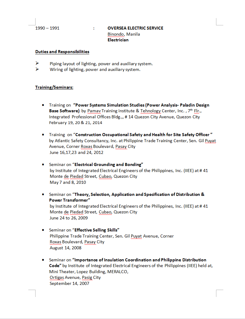 Brief Resume Of Technical Department Headproject Manager1 Smart Piping Layout Engineer Job Description