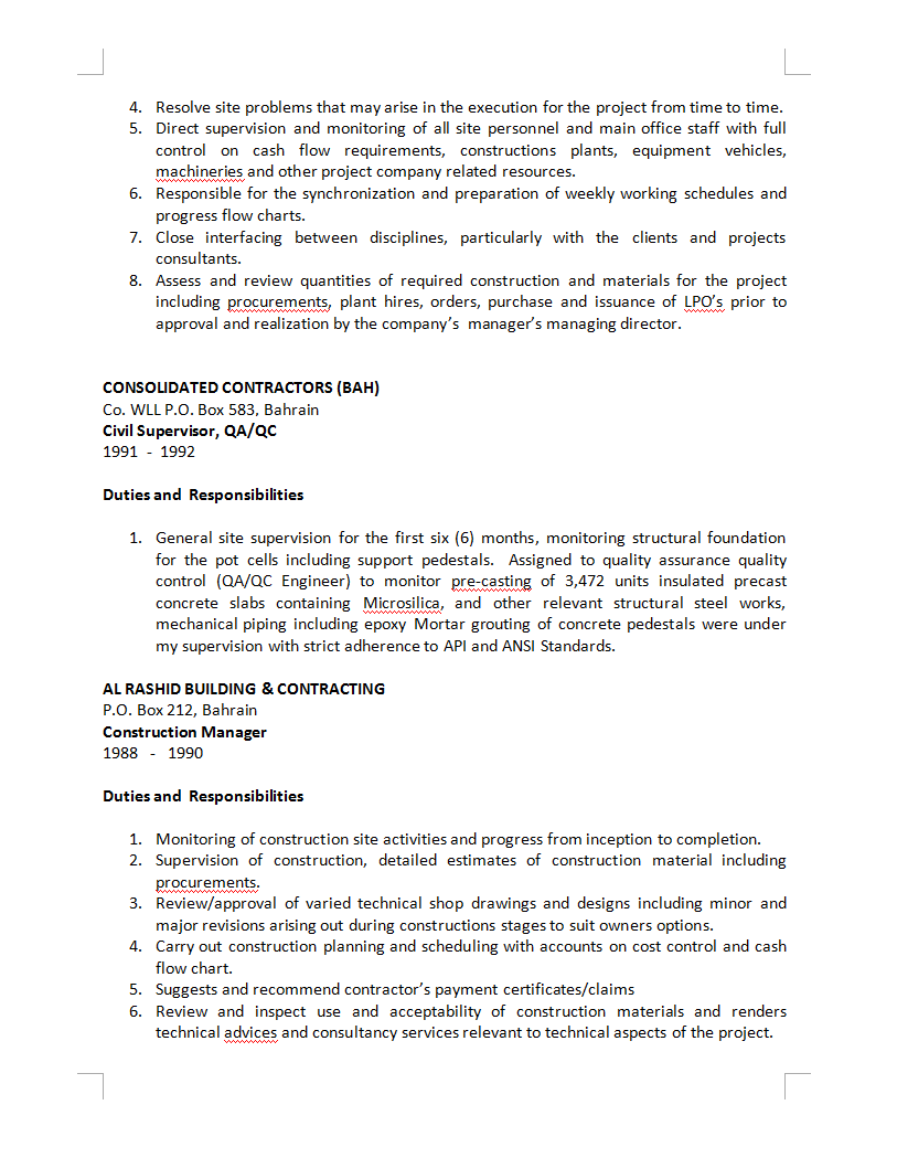 Famous Qa Qc Civil Engineer Cv Pictures - Example Resume Ideas ...